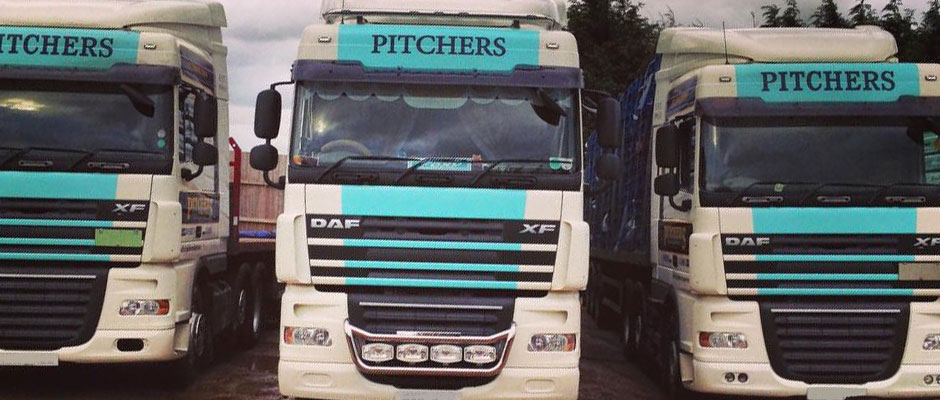 Our fleet of lorries in a row
